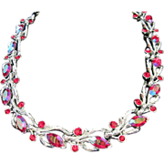 Lisner Red AB Rhinestone Choker Necklace