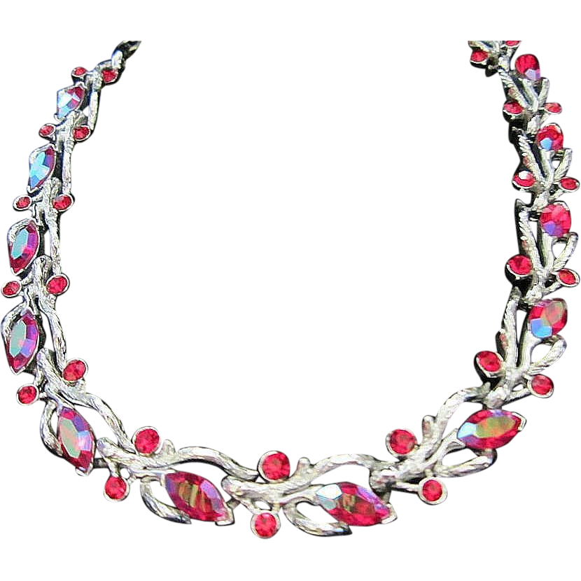 1/2 OFF! ~ Lisner Red AB and Rhinestone Choker Necklace ~ REDUCED!!