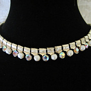 Vintage Coro Faux Pearl and Rhinestone Choker Necklace ~ 1/2 OFF!!!