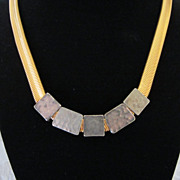 Vintage Liz Claiborne Gold Tone and Hammered Metal Necklace ~ REDUCED!