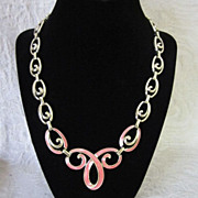 Vintage Pink Enamel and Gold Tone Necklace ~ 50% OFF