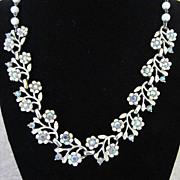 50% Off! Vintage Coro White Enamel Flowers with AB Rhinestones Necklace