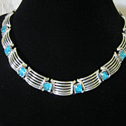 Vintage Aquamarine Rhinestones and Silver Tone Necklace ~ REDUCED!