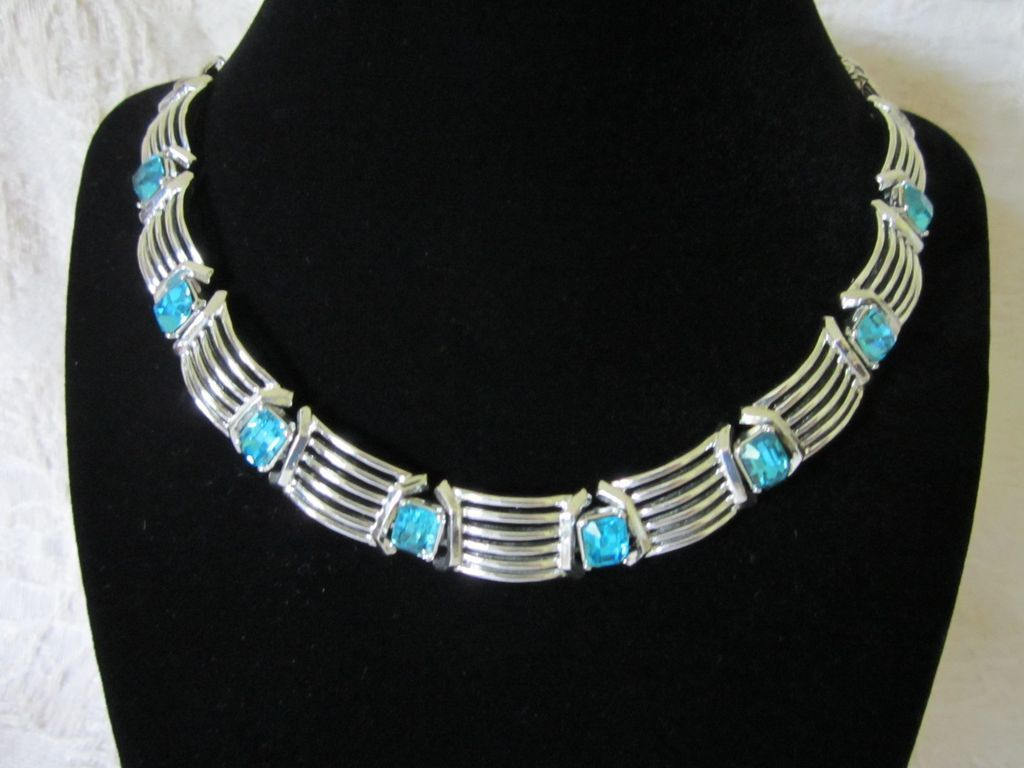 Vintage Aquamarine Rhinestones and Silver Tone Necklace