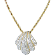 Vintage Gold and Silver Tone Seashell Necklace with Brilliant Rhinestones ~ REDUCED!