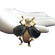 Vintage Bug, Bee, Insect Pin with Montana Blue Cabochon Wings