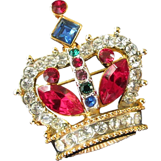 Petite Multi Colored Rhinestone Crown Pin