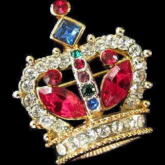 Petite Multi Colored Rhinestone Crown Pin
