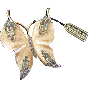 Vintage Trifari Rhinestone Butterfly Pin Brooch with Tag