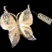 Vintage Trifari Rhinestone Butterfly Pin Brooch with Tag