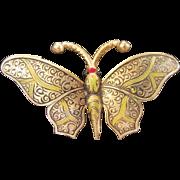 Vintage Spanish Damascene Butterfly Pin