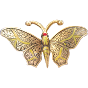 Vintage Spanish Damascene Butterfly Pin