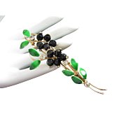 Black Crystals, Rhinestones and Enamel Leaves Floral Pin Brooch