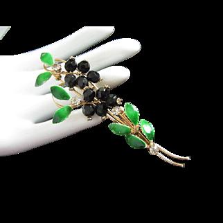 Black Crystals, Rhinestones and Enamel Leaves Floral Pin Brooch