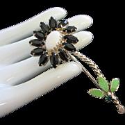 Vintage Black Navette and Milk Glass Flower Pin Brooch