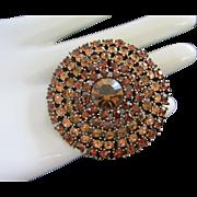 Vintage Weiss Shades of Topaz Rhinestone Pin Brooch
