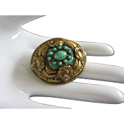Czechoslovakia Brass and Imitation Chrysoprase Domed Pin Brooch