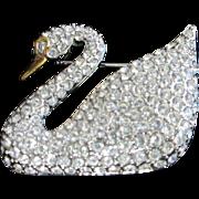 Vintage Swarovski Rhinestone Swan Pin