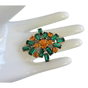 Vintage Emerald and Topaz Rhinestone Pin Brooch