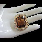 Vintage Topaz and AB Rhinestone Pin, Pendant