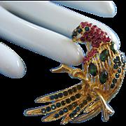 Vintage Multi Hued Rhinestone Bird Parrot Pin Brooch