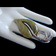 Vintage Green Lucite Leaf Pin Brooch,  Liz Claiborne