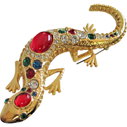 Rhinestone and Gold Tone Salamander Pin Brooch by Jackie Orr