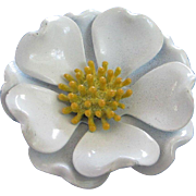 Vintage White and Yellow Enamel Flower Pin Brooch