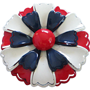 Vintage Red, White and Blue Enamel Flower Pin Brooch