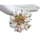 Floral Milk Glass and Pastel Colored Rhinestone Pin Brooch