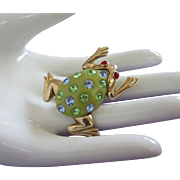 Vintage Green and Gold Tone Frog with Rhinestones