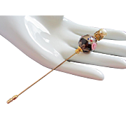 Italian Purple Murano Glass Wedding Cake Bead Stick Pin