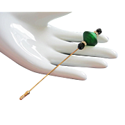 Italian Green Murano Glass Stick Pin