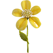 Happy Perky Yellow Enamel Flower Pin