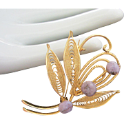Delicate Gold Tone Filigree and Lavender Genuine Stone Pin Brooch