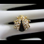 Petite Rhinestone and Lucite Lady Bug Pin