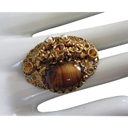 West Germany Brown Glass and Rhinestone Vintage Pin Brooch
