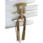 Unique Goldette Swinging Tassels Gold Tone Pin Brooch