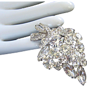 Weiss Elegant Clear Rhinestone Vintage Pin Brooch