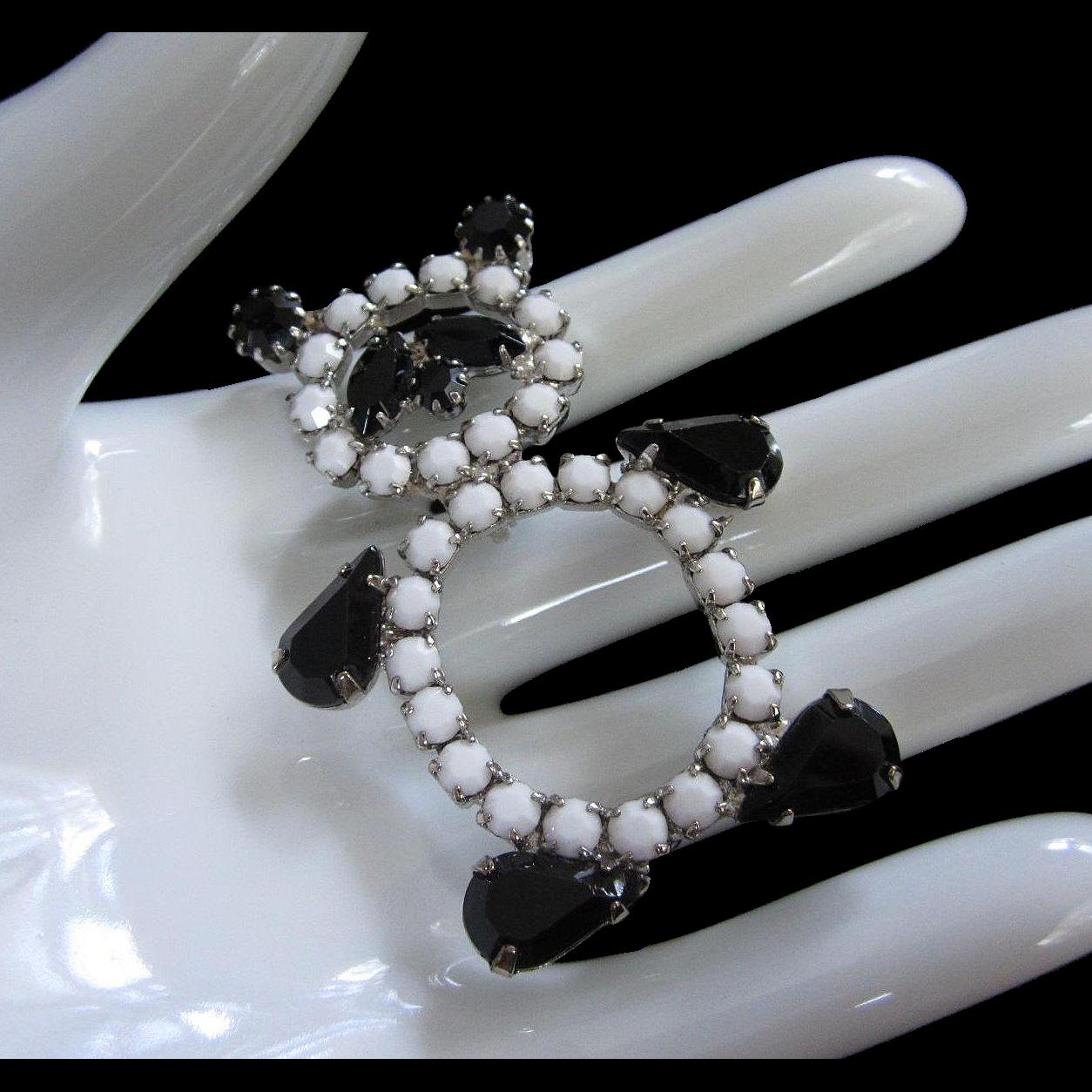 Rotund Black and White Rhinestone Panda Bear Vintage Pin Brooch