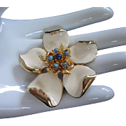 Creamy Enamel Flower Pin Brooch with Faux Turquoise, Lapis