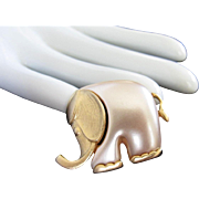 Pearlescent Lucite and Gold Tone Elephant Vintage Pin