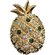 Petite Emerald and Clear Rhinestone Pineapple Pin
