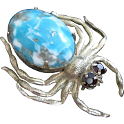 Vintage Gold Tone Spider Pin with Faux Turquoise Body