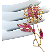 Juliana Fuchsia and Rose Rhinestone Flower Pin Brooch