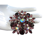 Vintage Amethyst and Lilac Rhinestone Flower Pin Brooch