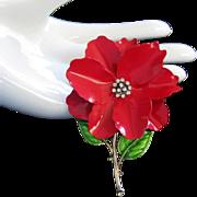 Red Enamel Rhinestone Holiday Flower Pin Brooch