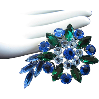 Three Shades of Blue and Emerald Rhinestone Pin Brooch