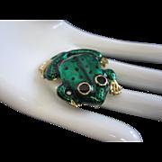 Emerald Green Enamel Frog Vintage Pin