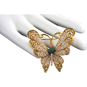BSK Faux Seed Pearls and Rhinestones Gold Tone Butterfly Pin